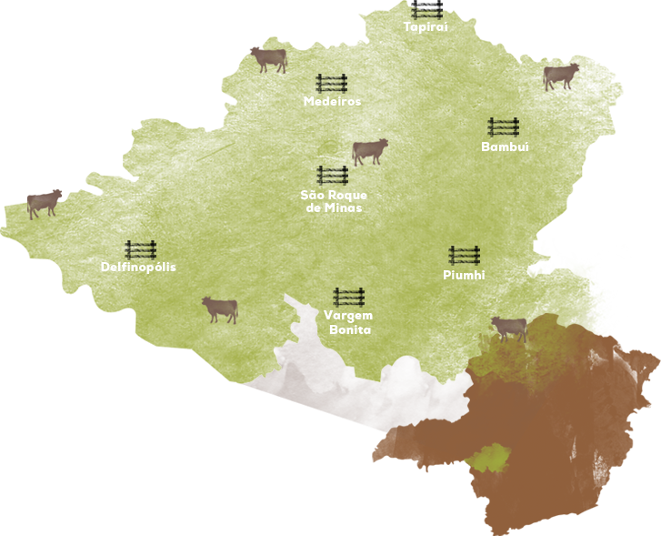 Mapa de produção do queijo da canastra